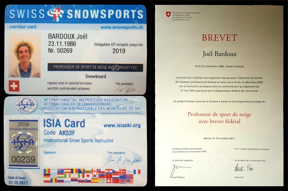 bardoux joel, joel bardoux, nomad snowboard, nomadsnowboard, brevet fédéral, ISIA card, ISIA, ISIA carte, diplôme, expérience