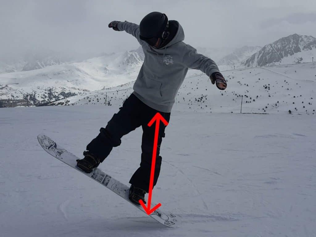 nomad snowboard, impulsion jambe arrière pour faire un ollie en snowboard.