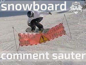 comment sauter en snowboard, sauter en snowboard, ollie au dessus d'une banderole