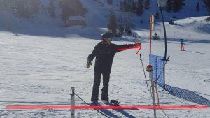 snowboard : bien se placer au départ d'un téléski. Photo explicative