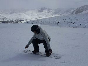 sauter en snowboard, nomad snowboard, flexion pour amortir