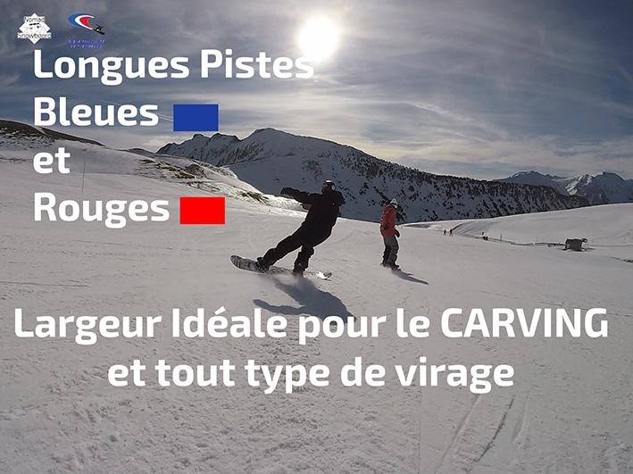 snowboard carving, pistes bleues, pistes rouges, virages, saint lary, snowboard, ski