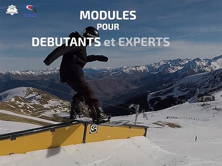 apprendre le snowboard freestyle, snowpark saint lary, snowpark pyrénées, ecole de snowboard